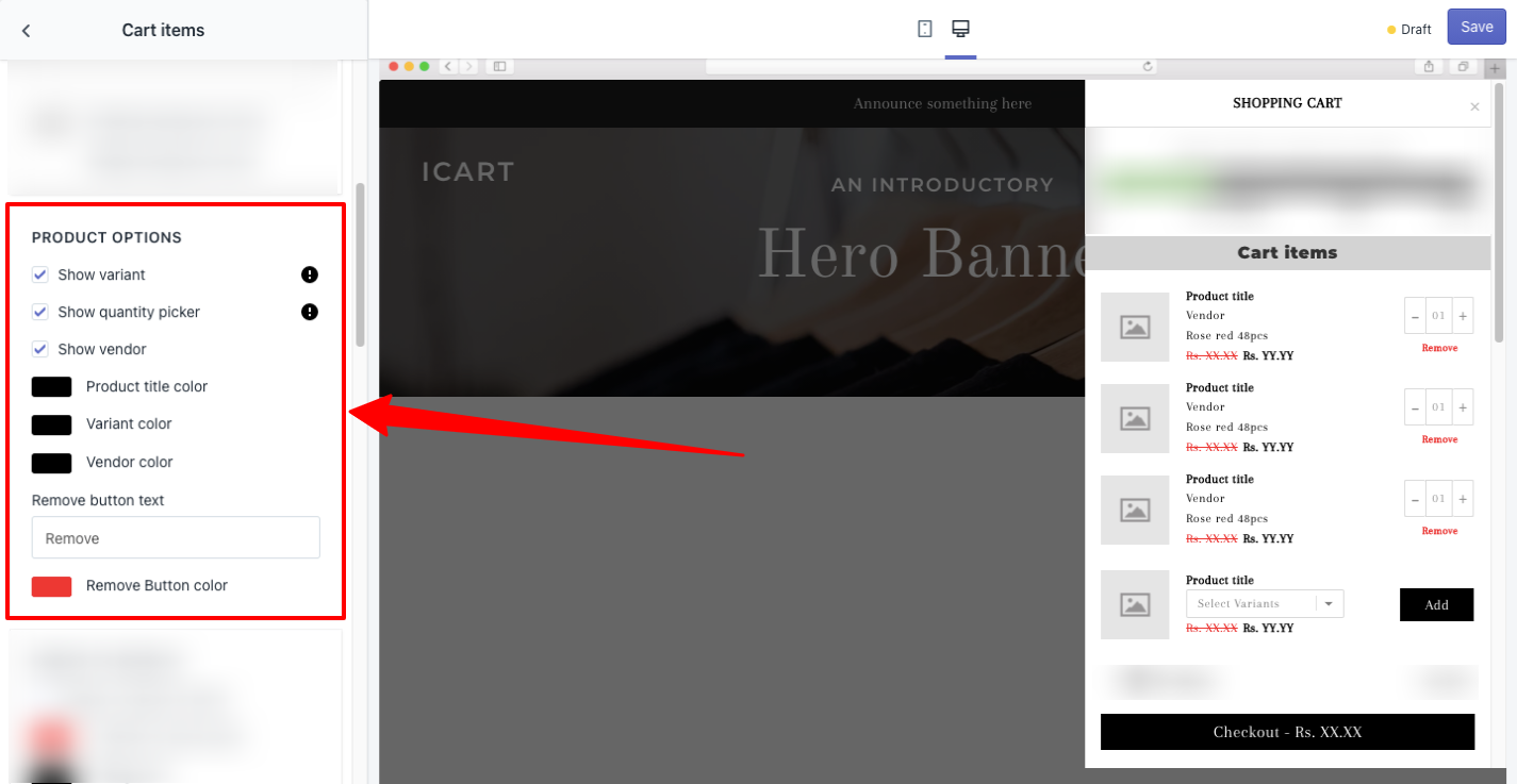 Product Options - Cart Items - iCart