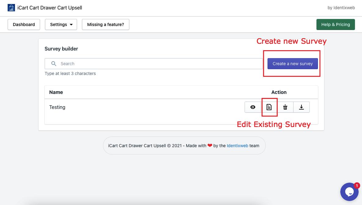 Survey Create/Edit
