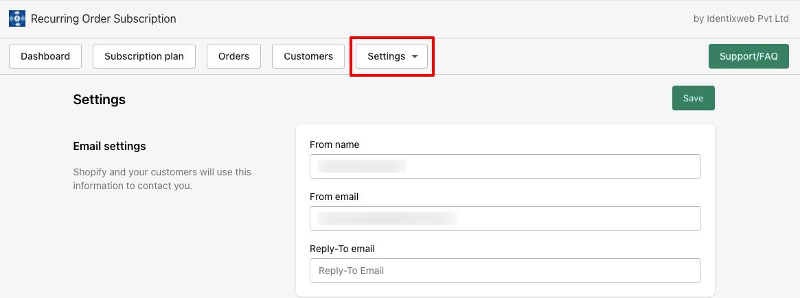 ROS - General Settings Email